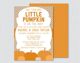Little Pumpkin Baby Shower Invitation Printable or Printed Invite - Pumpkin Baby Shower Invites for Fall Baby Shower, Orange, Brown - 0035-O