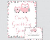 Pink and Gray Owl Baby Sh...