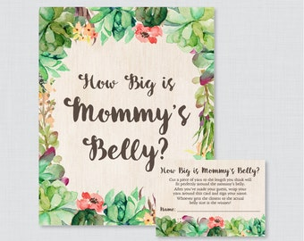 Succulent Baby Shower How Big Is Mommy's Belly Game - Printable Baby Shower Belly Guessing Game, Guess Belly Size - Rustic Green - 0060