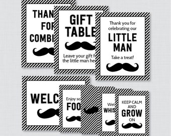 Printable Mustache Baby Shower Table Signs - EIGHT Signs! Welcome Sign, Favors Sign, etc - Instant Download, Black and White Mustache 0002-K