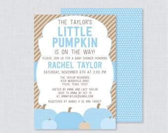 Little Pumpkin Baby Shower Invitation Printable or Printed - Blue Pumpkin Baby Shower Invite Fall Baby Shower Invite Baby Boy Invite, 0035-B