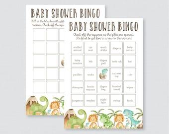 Dinosaur Baby Shower Bingo Cards - Printable Blank Bingo Cards AND PreFilled Bingo Cards - Dinosaur Themed Baby Shower Bingo Game Dino 0077