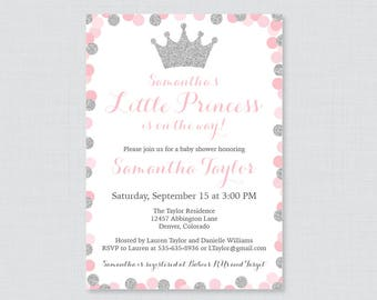 Pink and gray princess baby shower invitations etsy princess baby shower invitation printable or printed pink and silver glitter princess themed baby shower invites pink crown invite 0070 s filmwisefo