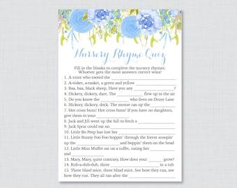 Floral Nursery Rhyme Quiz Baby Shower Game - Printable Instant Download -  Blue Flower Baby Shower Game - Blue Nursery Rhyme Quiz 0048