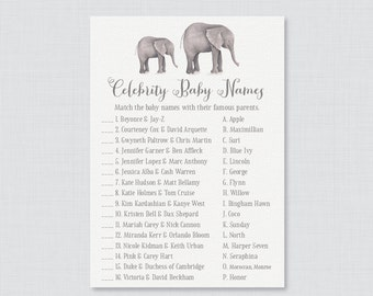 Elephant Baby Shower Celebrity Baby Name Game - Celebrity Baby Name Match - Printable Download - Gray Elephant Baby Shower Game - 0052
