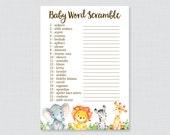 Safari Baby Shower Word S...