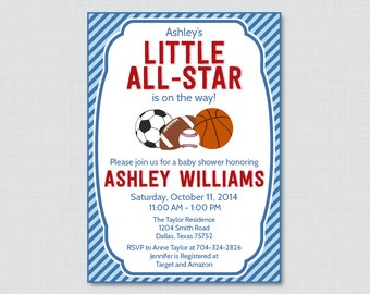 Sports Themed Baby Shower Invitations Etsy