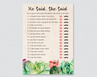Succulent Baby Shower He Said She Said Quiz - Baby Shower Mommy or Daddy Game - Rustic Green Succulent Cactus Baby Shower Phrases Quiz  0061