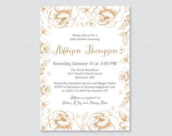 Gold Baby Shower Invitation Printable OR Printed - Gold Floral Baby Shower Invites with Flower Wreath Classic, Elegant, Neutral Invites 0066