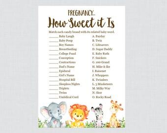 Safari Baby Shower Pregnancy How Sweet It Is Game - Printable Instant Download - Safari Animal Baby Shower Candy Game - Safari Game 0060