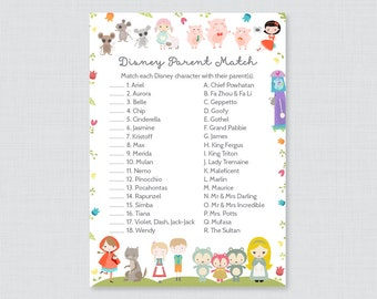 Nursery Rhyme Themed Baby Shower Disney Parent Match Game - Match the Disney Characters with their Parent, Book Themed Baby Shower Game 0068