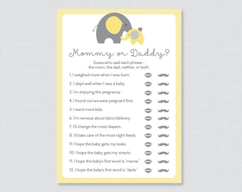 Little peanut elephant baby shower games she said he said word search 11 neutral yellow and gray shower games including animal pregnancy