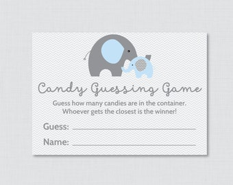 Elephant Baby Shower Candy Guessing Game Printable Guess