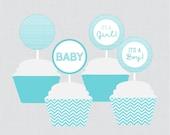 Aqua Chevron Baby Shower ...