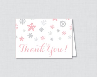 printable winter baby shower thank you card printable instant download pink and gray snowflakes winter wonderland thank you 0004 p