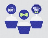 Bow Tie Baby Shower Cupca...
