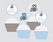Owl Baby Shower Cupcake T...