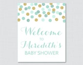 Mint and Gold Baby Shower...