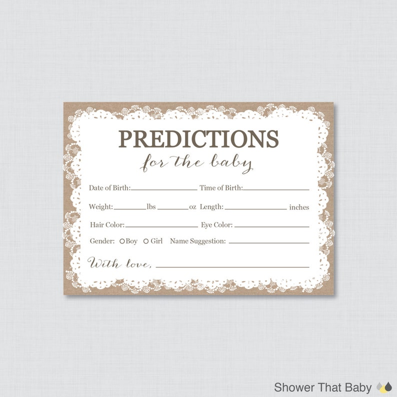Burlap and Lace Baby Shower Prediction Cards  Instant image 0