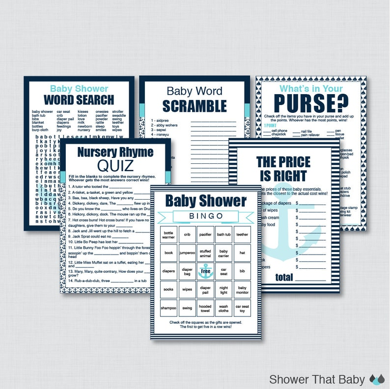 Nautical Baby Shower Games Package in Navy and Aqua  Six image 0