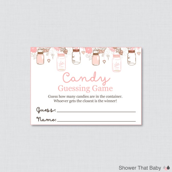image about Guess How Many in the Jar Printable identify Mason Jar Little one Shower Sweet Guessing Recreation Printable - Wager How Plenty of Candies, MMs, Jelly Beans, etcetera - Fast Obtain - Mason Jar
