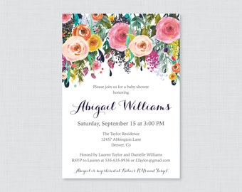 Floral Baby Shower Invitation Printable or Printed - Flower Baby Shower Invites, Shabby Chic Baby Shower Invitation Baby Girl or Boy 0025-B
