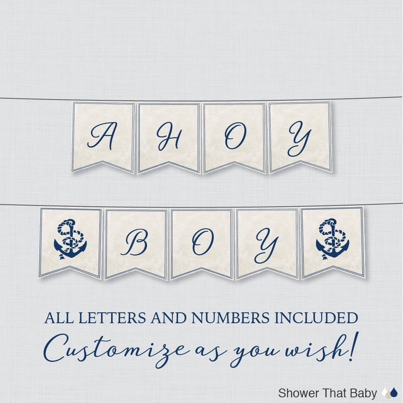 Printable Nautical Baby Shower Banner Navy Anchor Shower Etsy