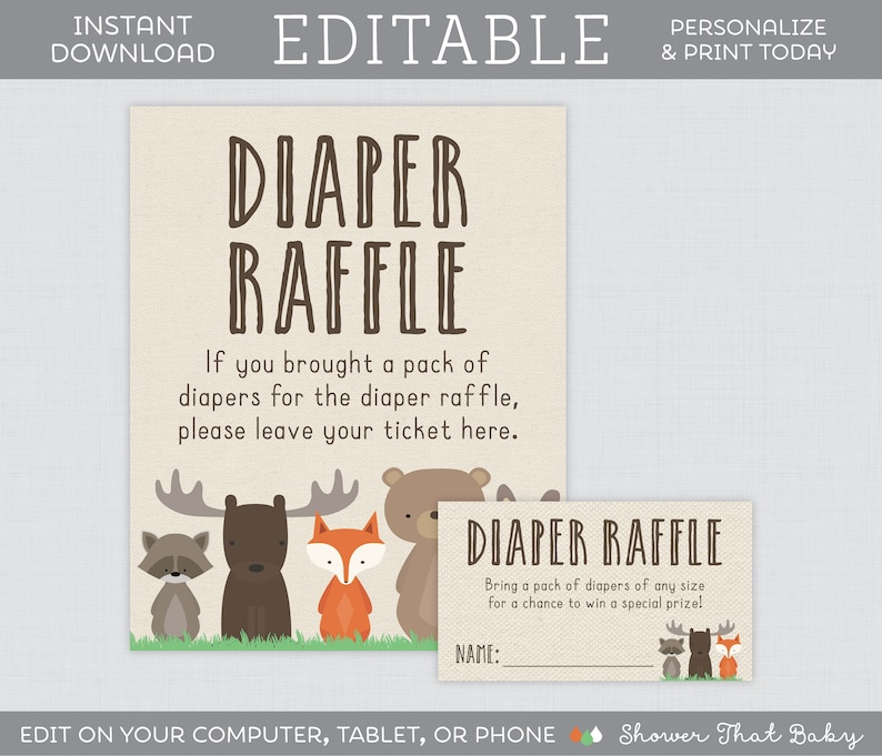 Editable Diaper Raffle Tickets And Sign Woodland Baby Shower Diaper Raffle Template Editable Woodland Animal Themed Diaper Raffle 0010