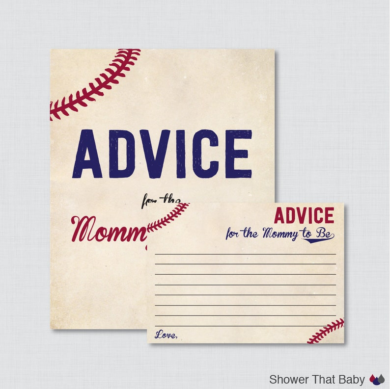 Baseball Advice for Mommy to Be Cards and Sign  Printable image 0