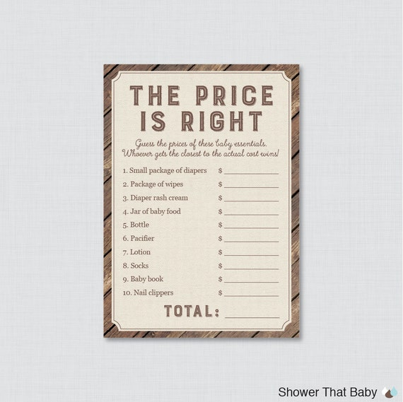 Rustic Baby Shower Price Is Right Game Printable Baby Shower Game