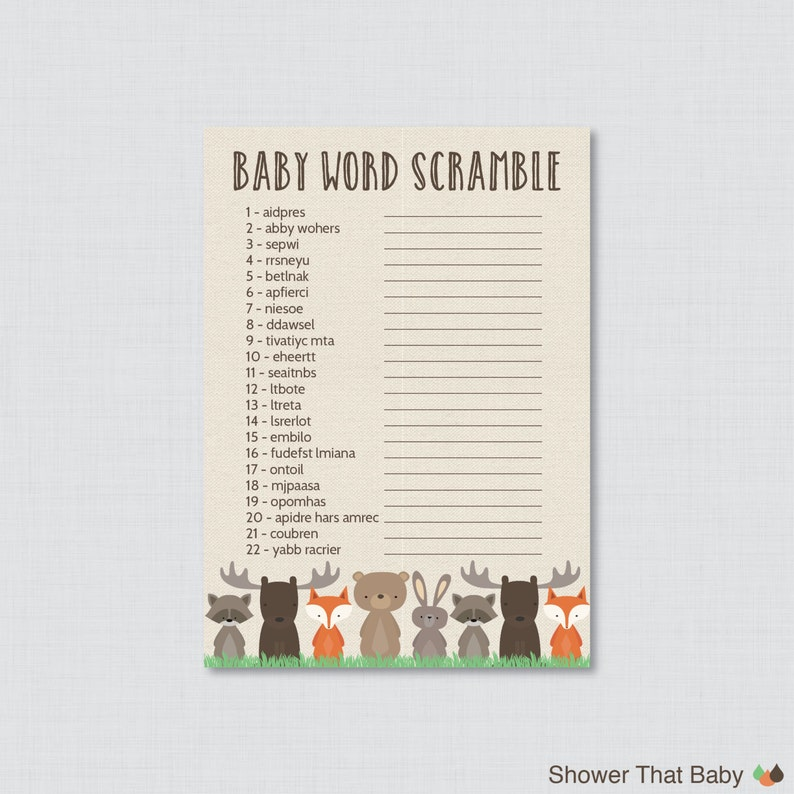 image regarding Baby Shower Word Scramble Printable referred to as Woodland Boy or girl Shower Phrase Scramble Recreation - Printable Prompt Down load - Woodland Term Scramble Boy or girl Shower - 0010