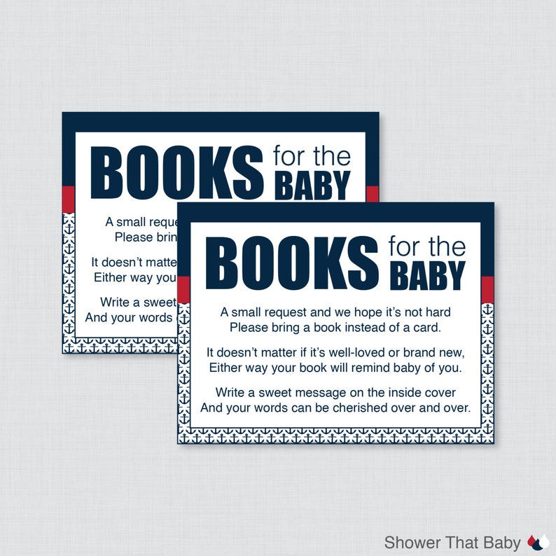 image about Bring a Book Instead of a Card Printable identify Little one Shower Deliver a E book As an alternative of a Card Printable Invitation Inserts Nautical Armed service and Purple Printable Instantaneous Obtain - Nautical