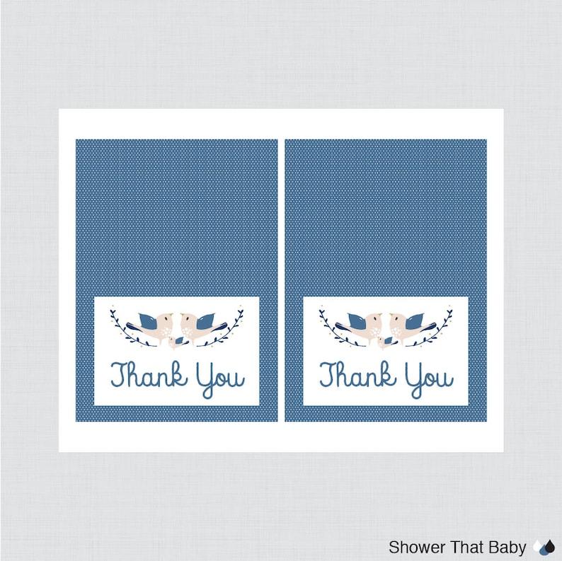 Birdie Thank You Card Navy Blue Bird Baby Shower Thank You Card Printable Bird Thank You Card 0037-B Printable Instant Download