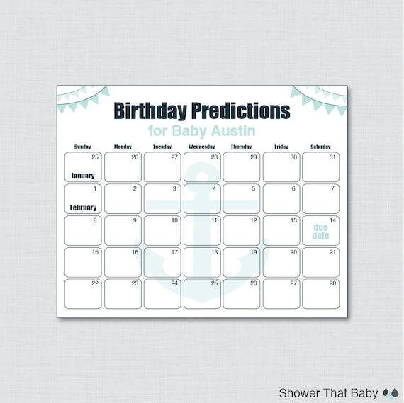 0029-A Printable Nautical Baby Shower Guess the Birth Date Poster Aqua Navy Nautical Due Date Nautical Birthday Prediction Calendar