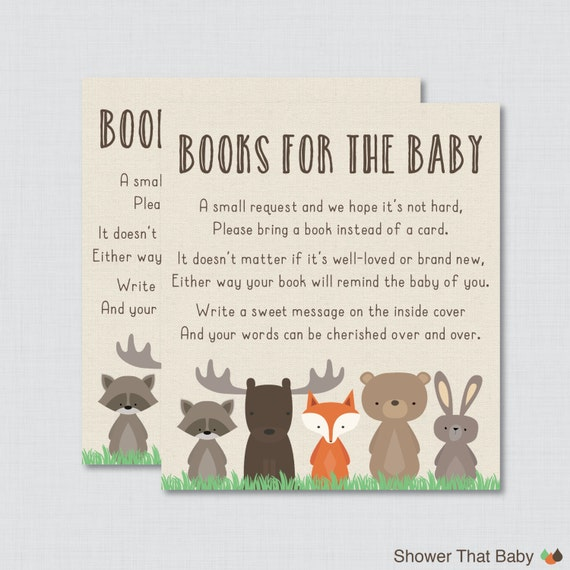 Book Raffle Book Insert Woodland Baby Shower Book Request Bring a Book Card Books for Baby Baby Shower Book Raffle
