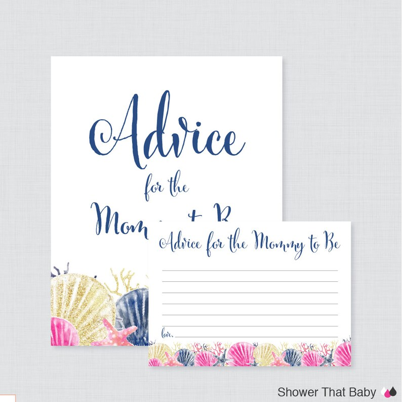 Beach Themed Baby Shower Advice for Mommy to Be Cards and Sign image 0