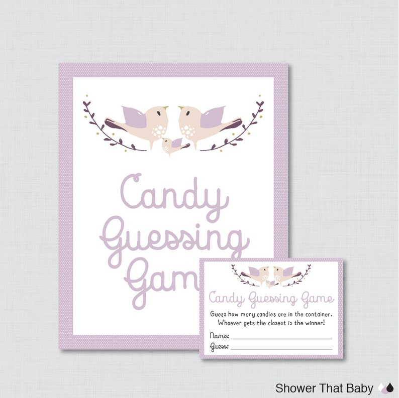 Bird Baby Shower Candy Guessing Game Printable  Guess How image 0
