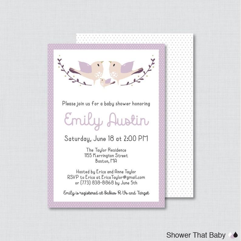 Bird Baby Shower Invitation Printable or Printed  Purple image 0