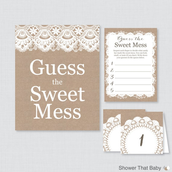 Burlap Baby Shower Diaper Candy Bar Game Printable Guess The Etsy