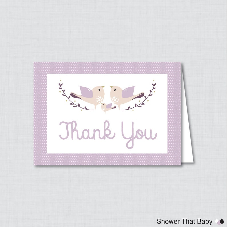 Printable Bird Thank You Card  Printable Instant Download  image 0