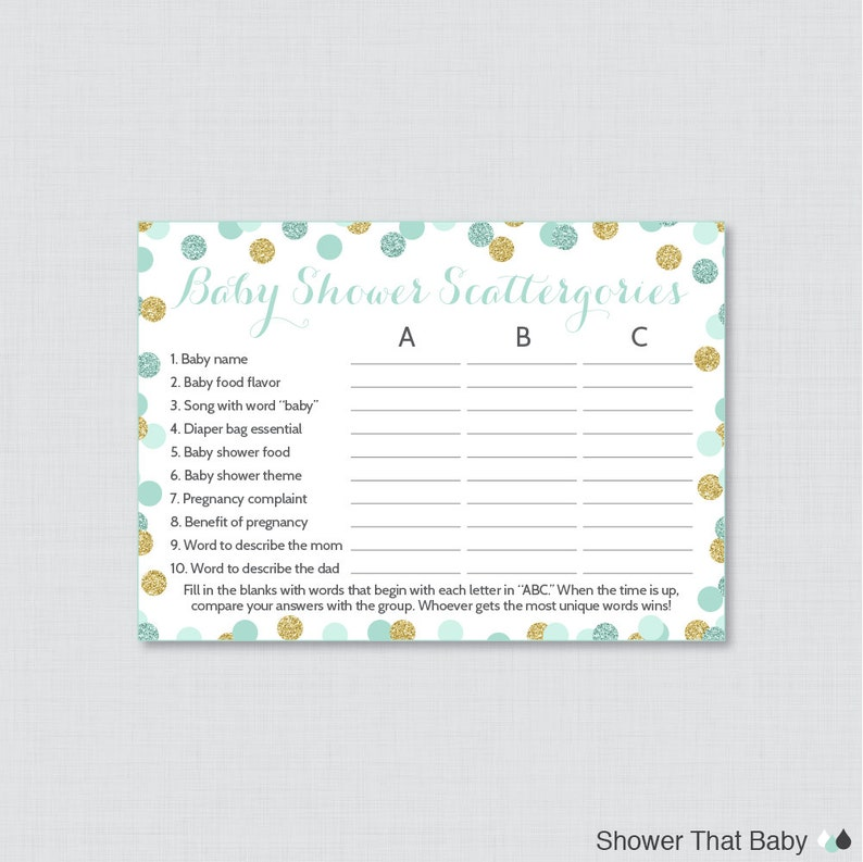 Mint and Gold Baby Shower Scattergories Game - Printable Download - Mint  Gold Glitter Baby Shower Game - Baby Scattergories ABC Game 0008-m