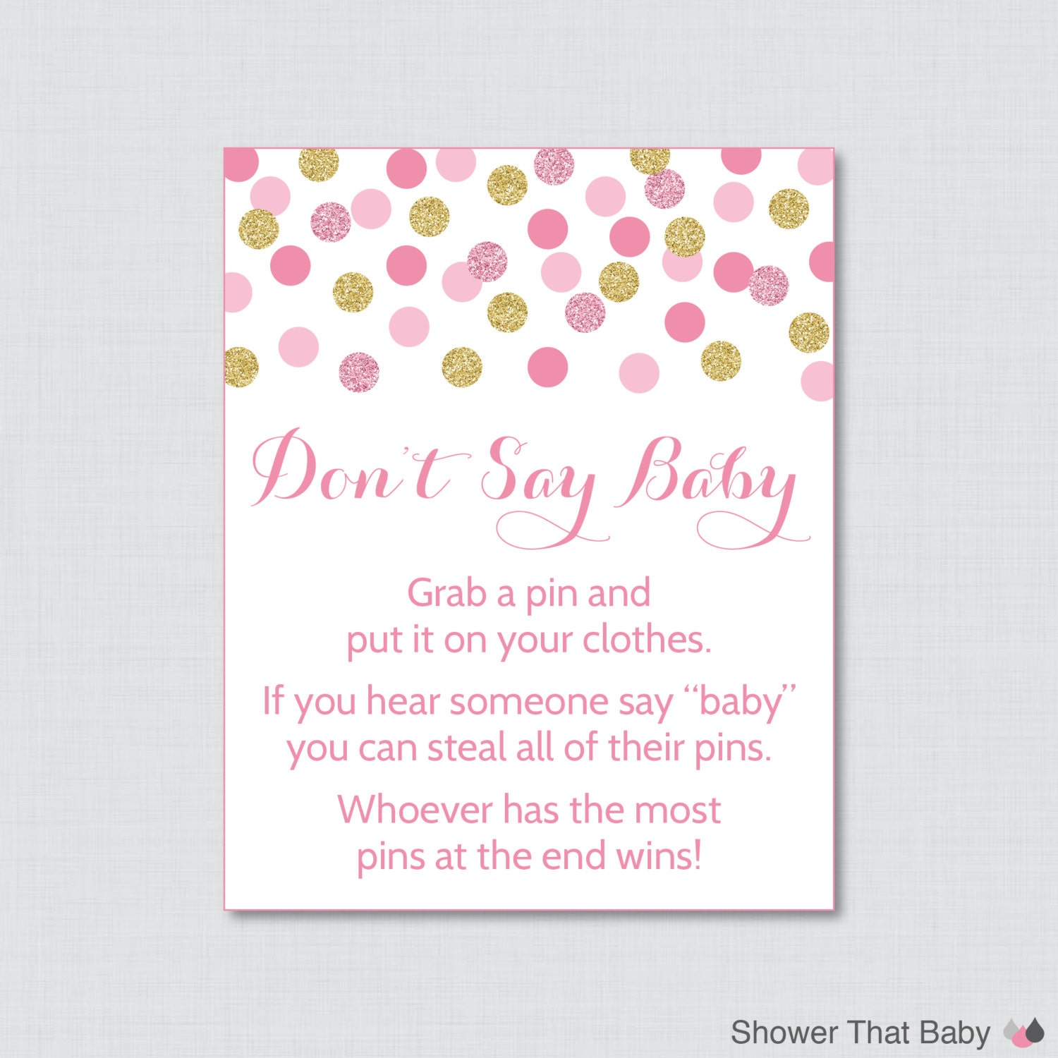 image about Don't Say Baby Printable identified as Dont Say Little one Child Shower Match Printable Purple and Gold Dont Say Little one Indication Diaper Pin Clothing Pin Sport - Prompt Down load - 0008-p