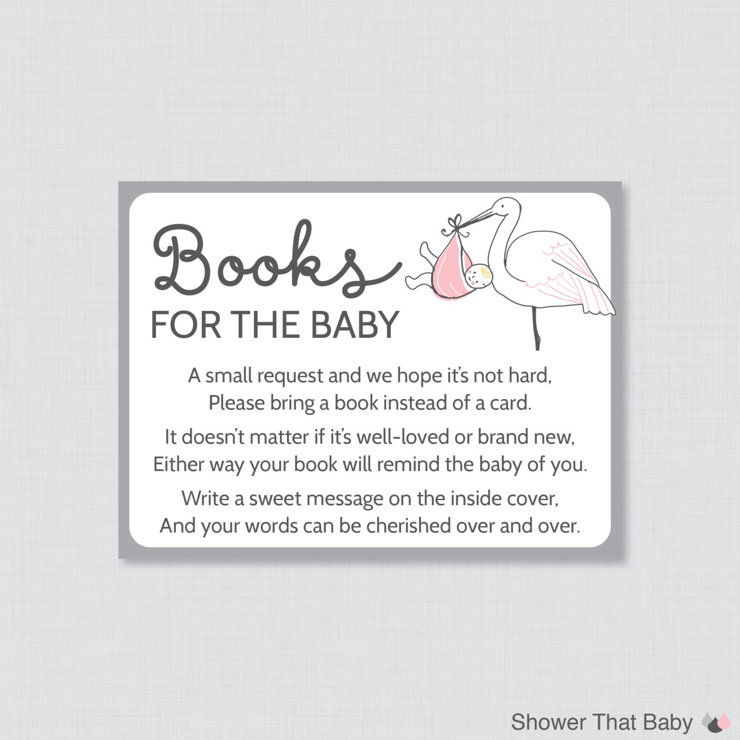 Stork Baby Shower Bring a Book Instead of a Card Invitation   Etsy