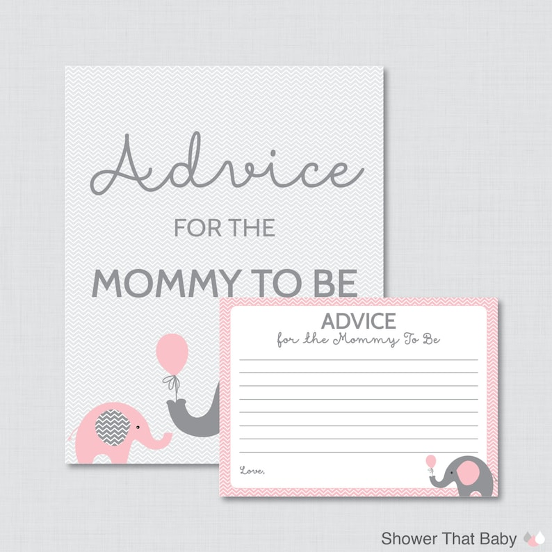Advice for Mommy to Be Cards and Sign Elephant Baby Shower image 0