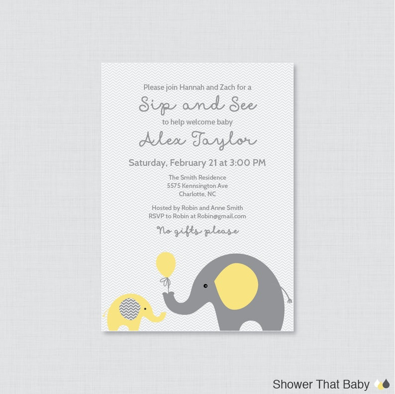Elephant Sip And See Invitation Printable Or Printed