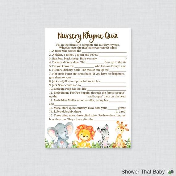 Safari Nursery Rhyme Quiz Baby Shower Game Printable Instant Etsy