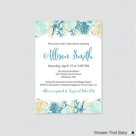 picture relating to Nautical Baby Shower Invitations Printable identified as Nautical Youngster Shower Invitation Printable or Published - Beach front Themed Little one Shower Invitations - Blue and Aqua Below the Sea Boy or girl Shower - 0047-B