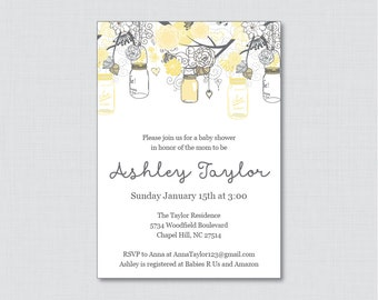 Mason Jar Baby Shower Invitation Printable or Printed Invite - Yellow and Gray Baby Shower Invites - Gender Neutral Mason Jar 0064-Y