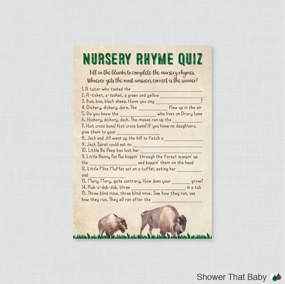 Bison Nursery Rhyme Quiz Baby Shower Game Printable Instant