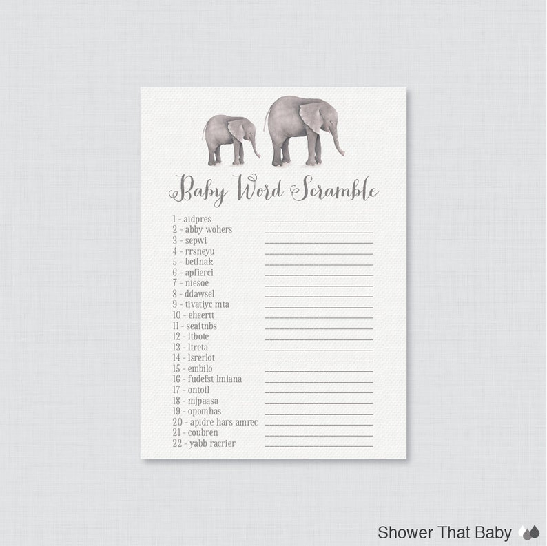 Elephant Baby Shower Word Scramble Game  Printable Instant image 0